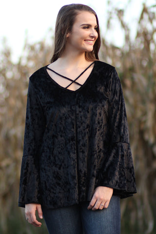Velvet Top With Criss Cross Straps And Bell Sleeves - Ty Alexander's