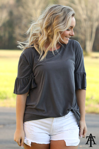 Knot Top With Trumpet Sleeves - Ty Alexander's