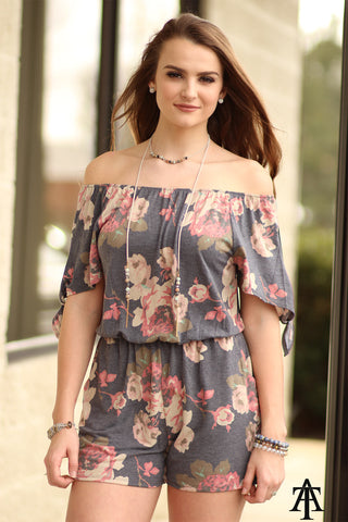 Ty Alexander's -  Floral Off The Shoulder Romper