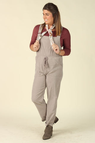 Take me Pumpkin Pickin' - Taupe Overalls