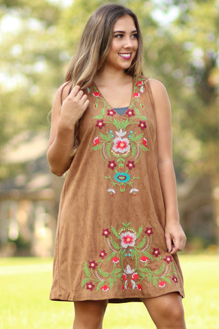 Sleeveless Suede Embroidered Dress - Ty Alexander's