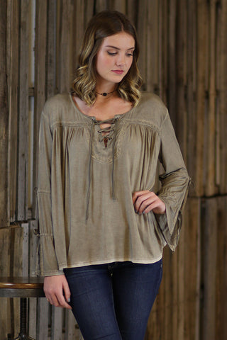 Tied Knot-Lace Up Long Sleeve Top