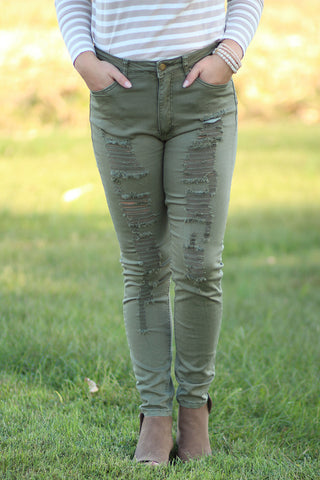 Options - Destroyed  Colored Skinny Jeans
