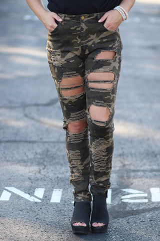 This Life - High Waisted Destroyed Camo Skinny Pants
