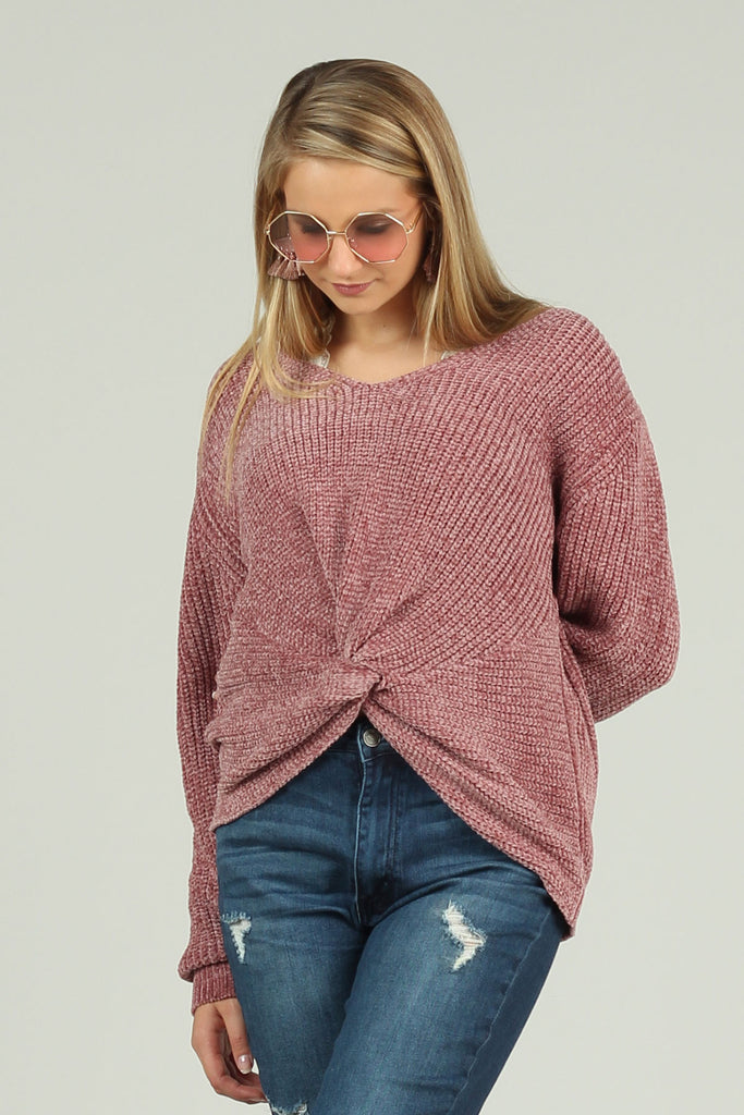 Balanced Between - Sweater with Knot Front - Ty Alexander's