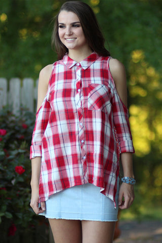Chic Country - Cold Shoulder Plaid Top- Ty Alexander's