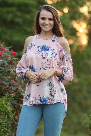Dance, Dance, Dance - Floral Open Shoulder Top- Ty Alexander's