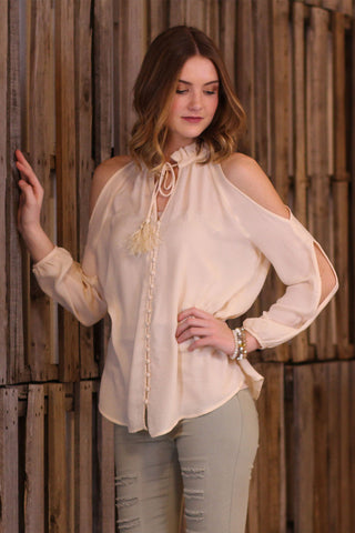 High Neck Button Cold Shoulder Top