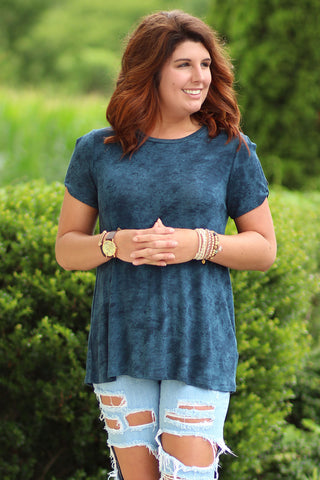 Grunge Goddess- Washed Cutout Sleeve Top - Ty Alexander's