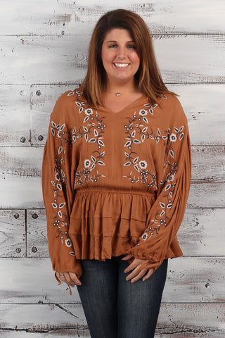 Boho - Cinched Waist Embroidered Top