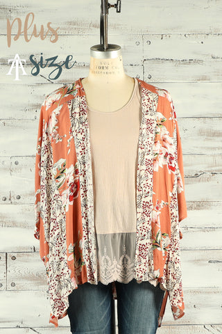 Make A Way - Open Front Kimono with Contrasting Floral Print and Side Slits - Plus - Ty Alexander's