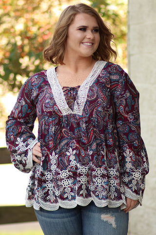 Lacey Hem Detailed Paisley Top - Plus Size - Ty Alexander's