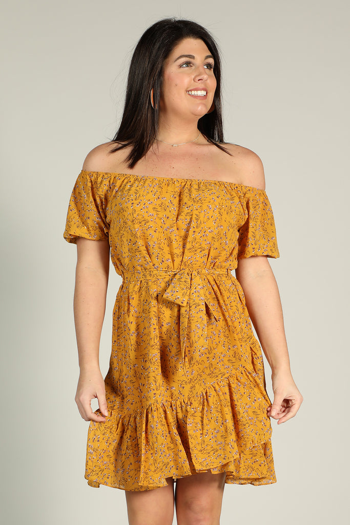 Golden - Off The Shoudler Dress