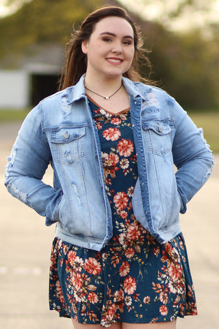 Your Mom's - Light Faded Distressed Denim Jacket - Plus Sized