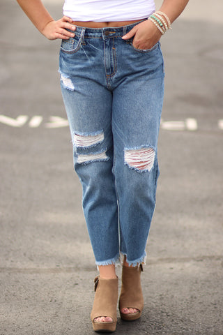 High Rise Patched Girlfriend Jeans - Ty Alexander's