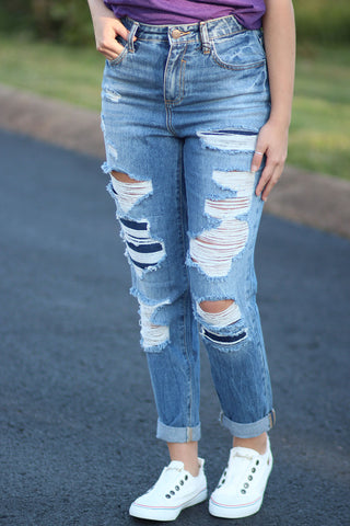Destroyed Girlfriend Jeans - Ty Alexander's