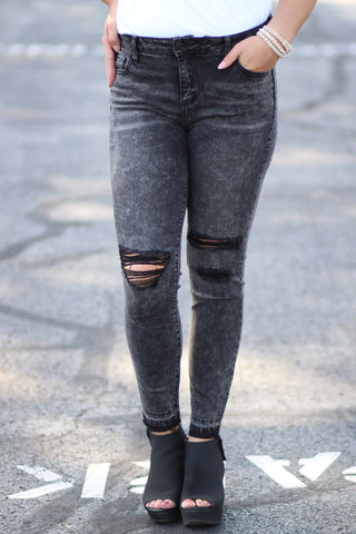 Mid Rise Destroyed Ankle Skinny Jeans - Ty Alexander's