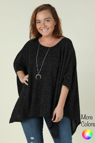 Go With The Flow- Solid Fuzzy Poncho Top
