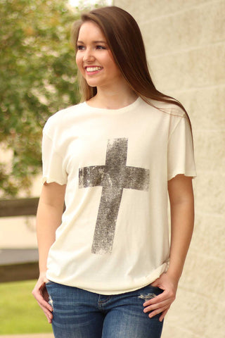 Distressed Cross Tee - Crazy Cool Threads