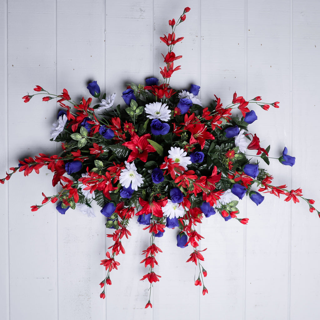 Large Red White Blue  Headstone Spray