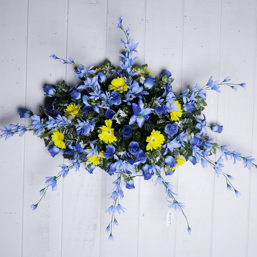 Large Blue Yellow Headstone Spray