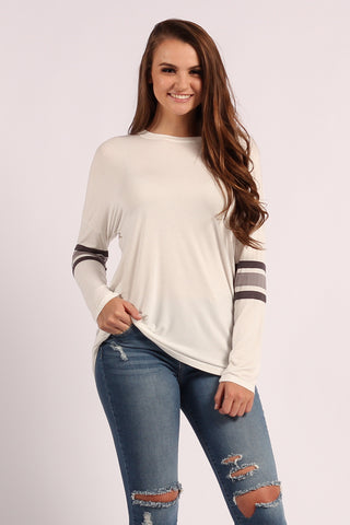 Long Sleeve Crew Neck Top With Varsity Stripes