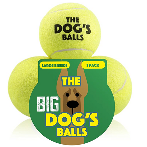 The Big Dog's Balls - 3 Strong Large Dog Tennis Balls