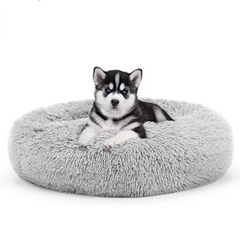 The Dog's Bed Sound Sleep Nest Bed, Donut Dog Bed (Ice White)
