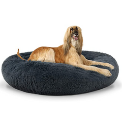 The Dog's Bed Sound Sleep Nest Bed, Donut Dog Bed (Dark Grey)