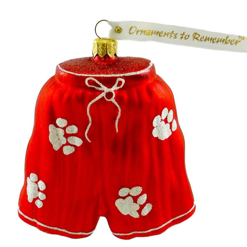 Ornaments To Remember Boxer Shorts With Paws Glass Ornament