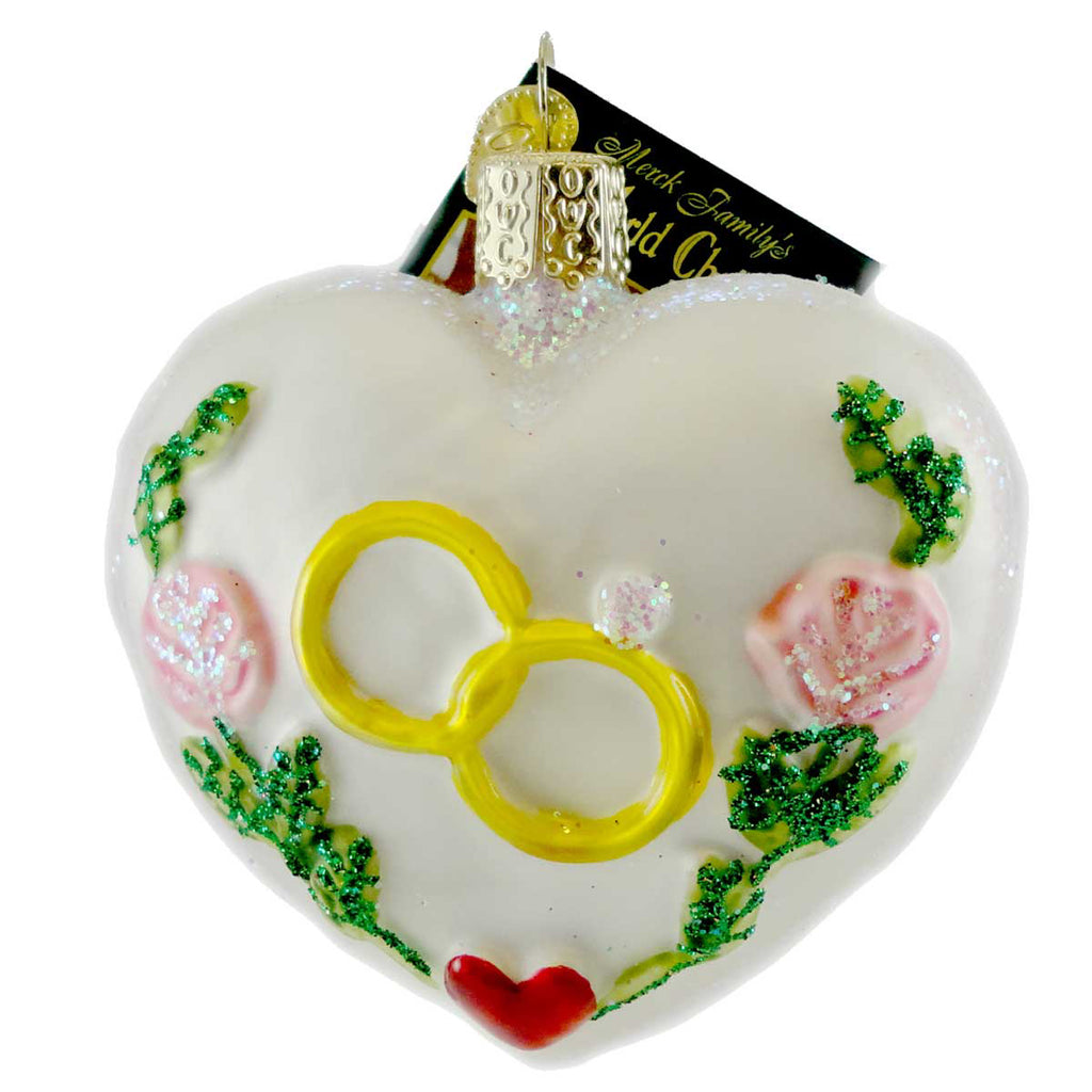 Old World Christmas Wedding Heart Glass Ornament
