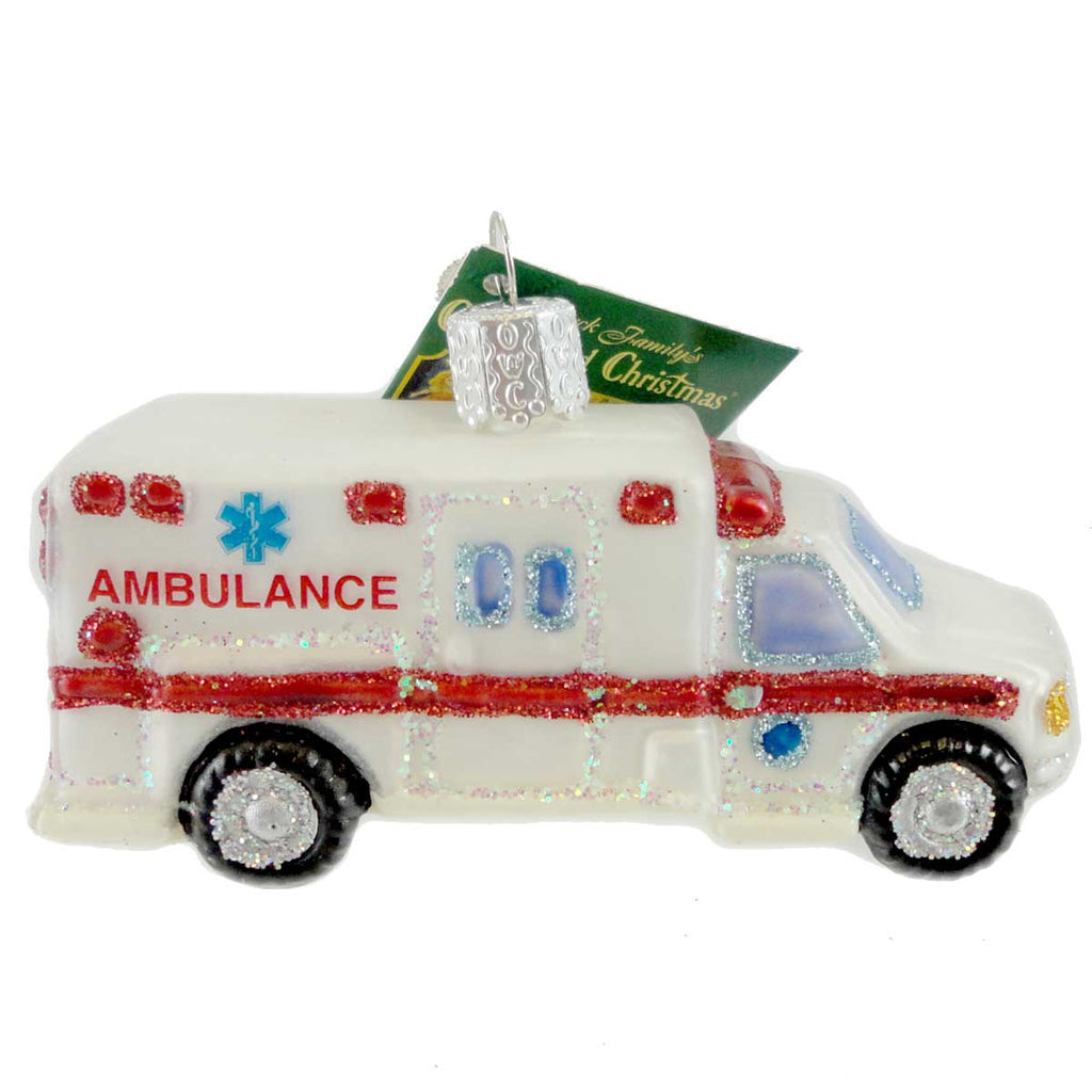 Old World Christmas Ambulance Glass Ornament
