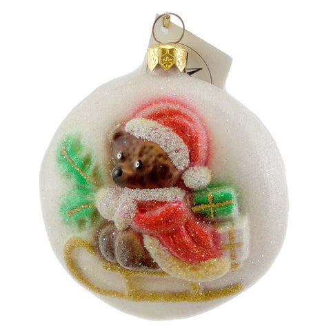 Christopher Radko SLEIGH BEARS Blown Glass Ornament Santa Teddy 1140