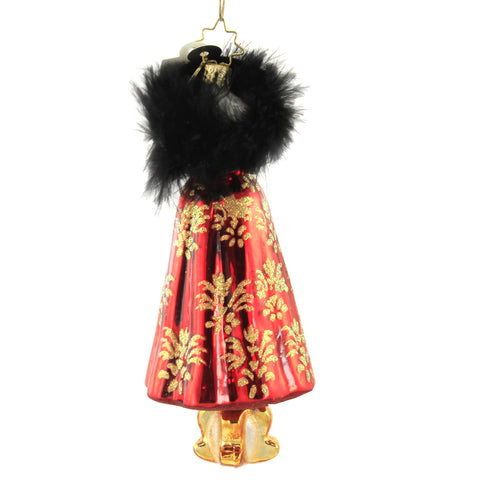 Christopher Radko FESTIVE FROCK Blown Glass Ornament Dress 11605