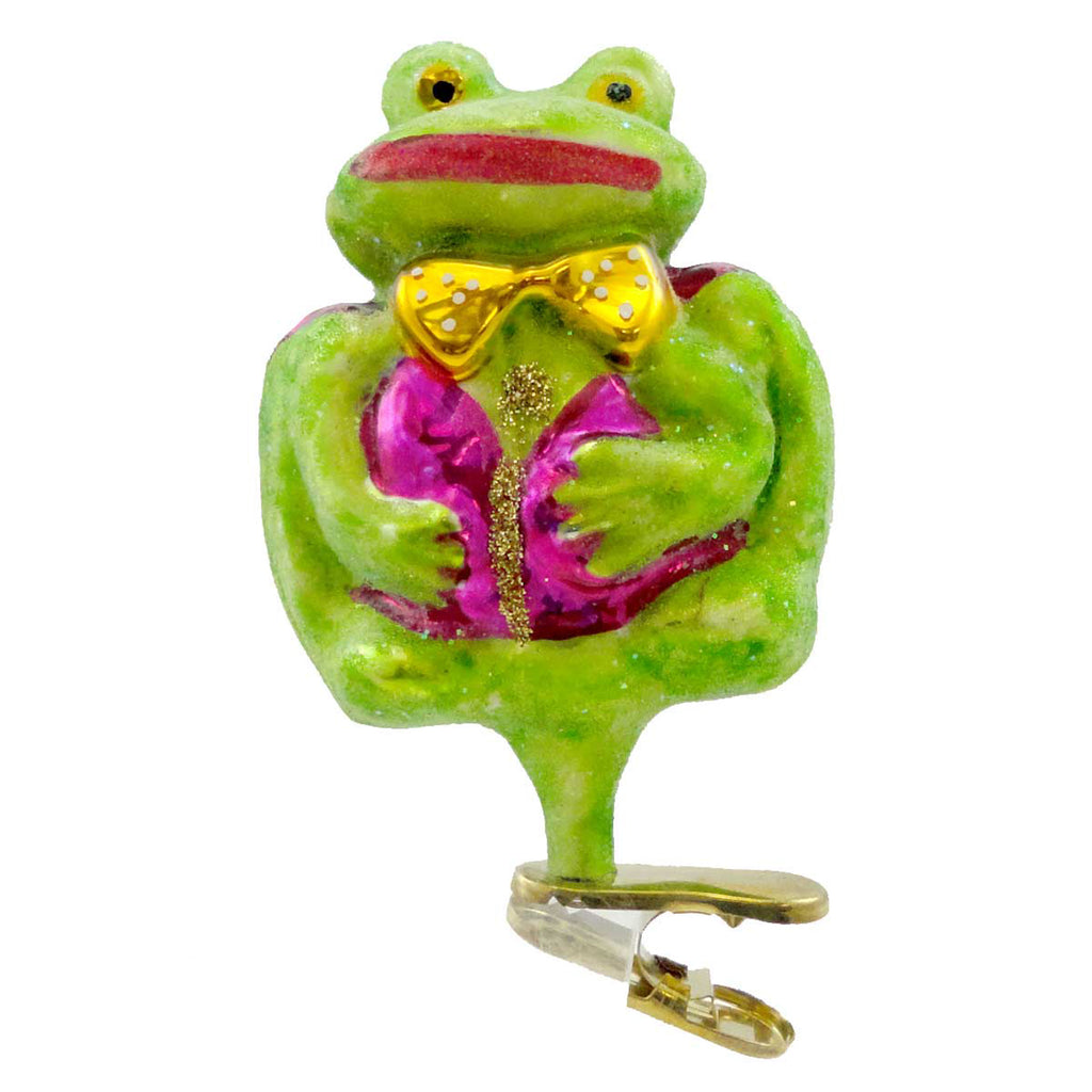 Christopher Radko A Courtin Frog Glass Ornament