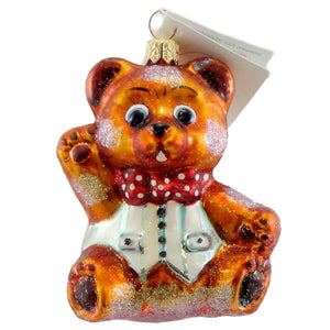 Christopher Radko Baby Huggy Bear Glass Ornament