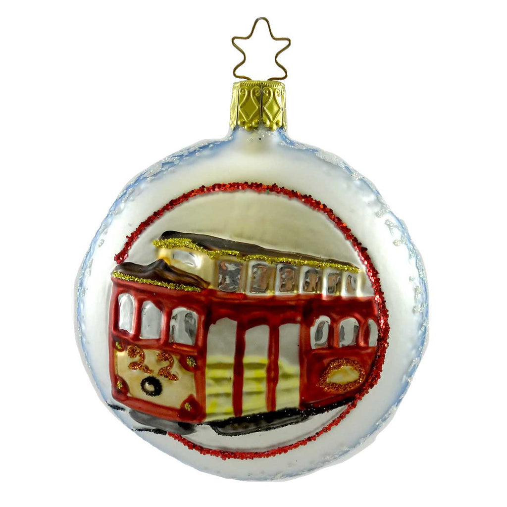 Inge Glas San Francisco Cable Car Glass Ornament