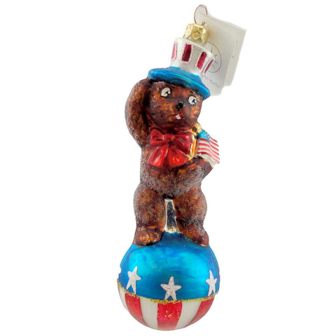 Christopher Radko TEDDY FOR PRESIDENT Blown Glass Ornament Patriotic Uncle Sam 1299