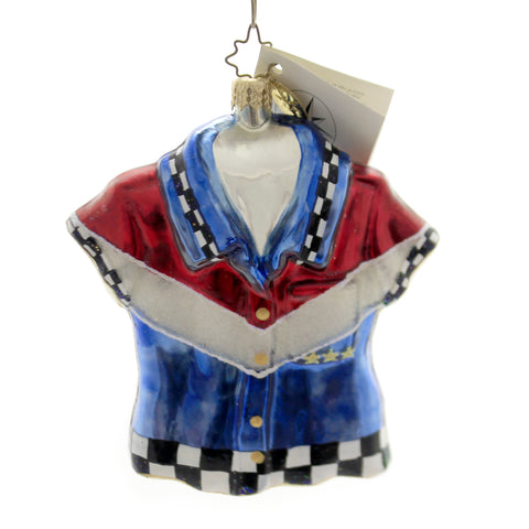 Christopher Radko AMERICAN RACER Blown Glass Ornament Shirt Patriotic Rwb 1328