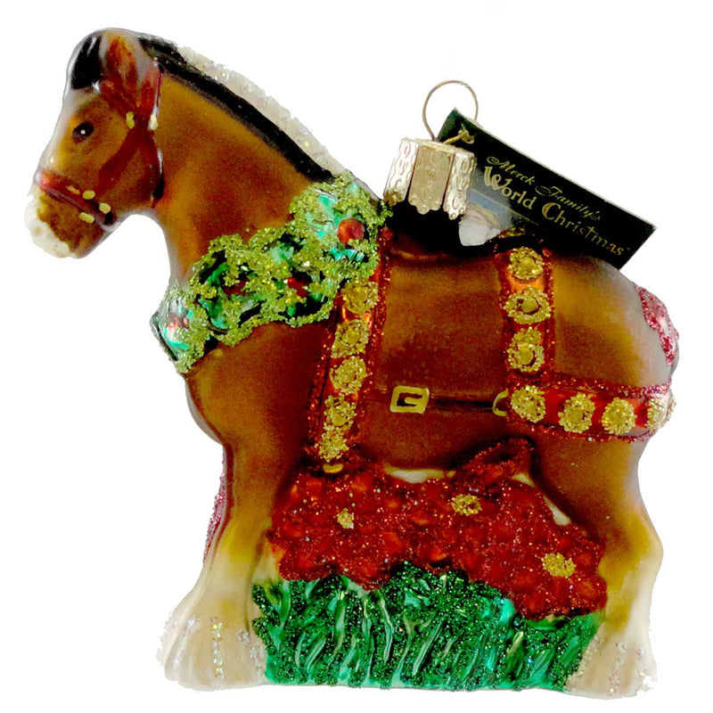 Old World Christmas Holiday Clydesdale Glass Ornament