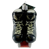 Old World Christmas Hockey Skates Glass Ornament