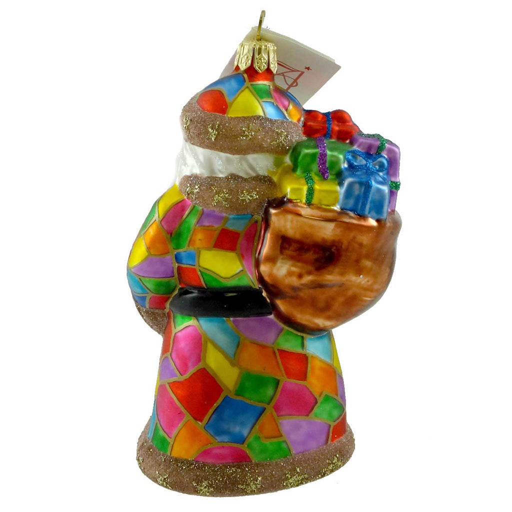 Tannenbaum Treasures Patchwork  Santa Glass Ornament