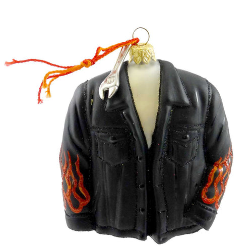 Ornaments To Remember Biker Jacket Glass Ornament