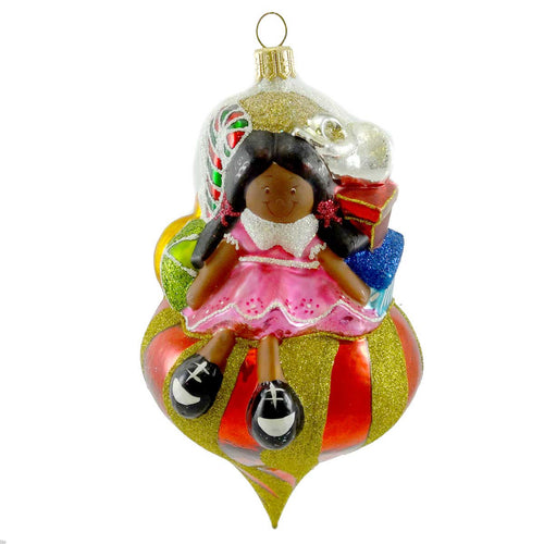 Ornaments To Remember Santa's Girl Dark Skin Glass Ornament