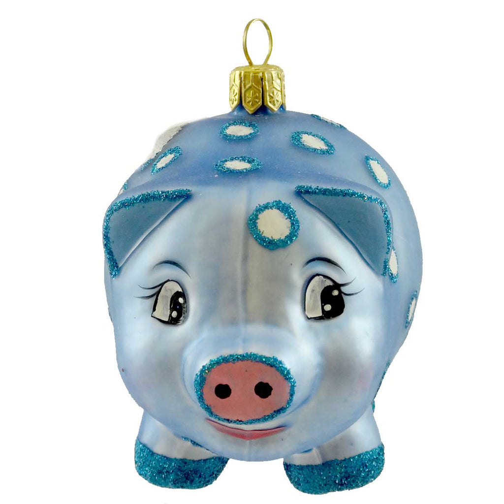 Ornaments To Remember Piggy Bank Blue Glass Ornament