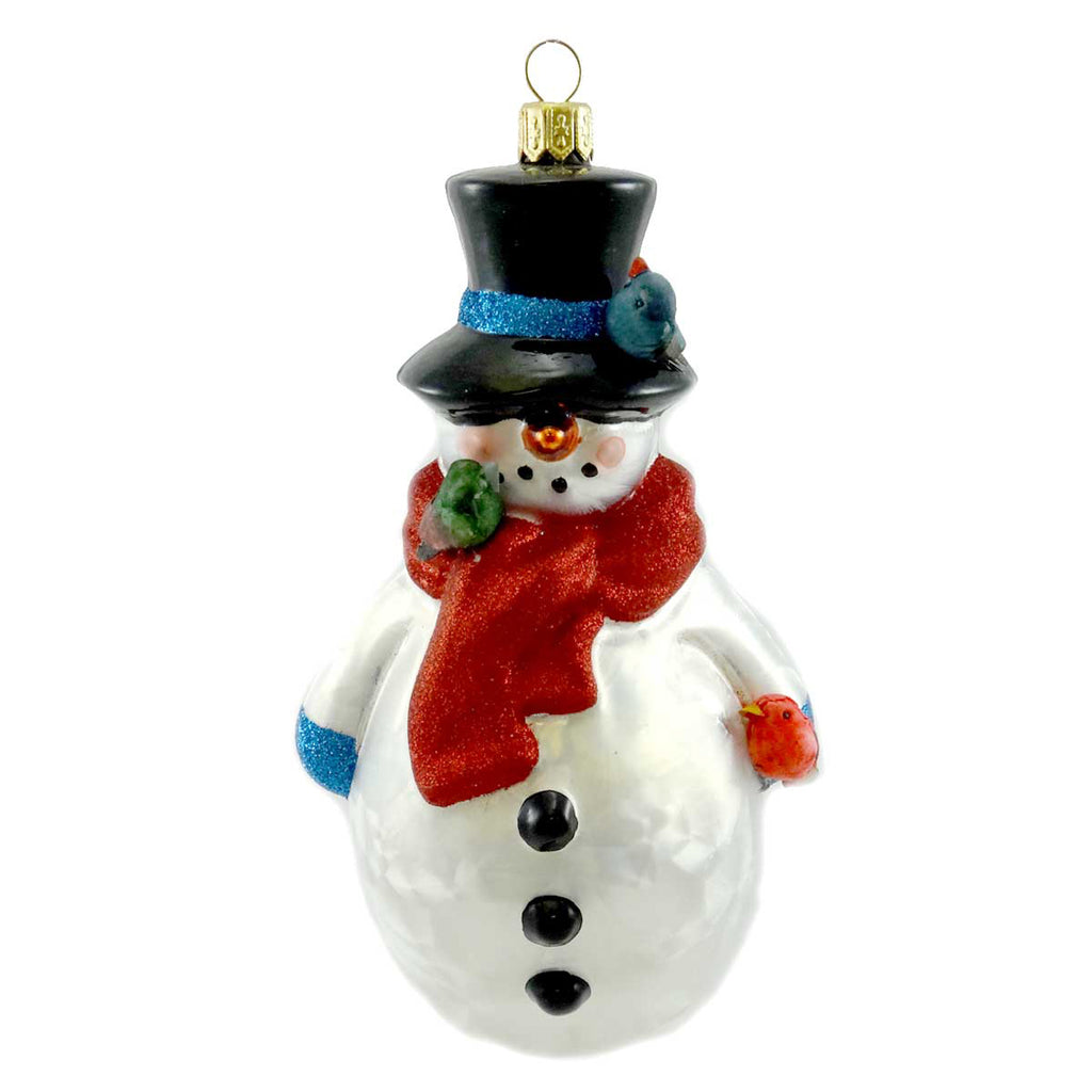 Ornaments To Remember Snow Person Birds Glass Ornament