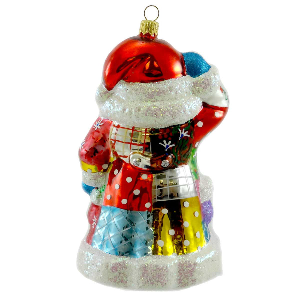 Ornaments To Remember Beckoning Santa Quilt Glass Ornament