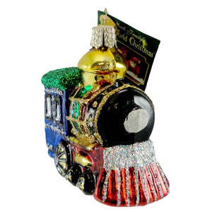 Old World Christmas Locomotive Small Glass Ornament