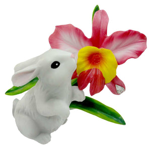 Easter Bunny With Orchid Easter & Spring Figurine