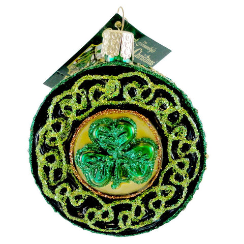 Old World Christmas CELTIC BROOCH Blown Glass Ornament Irish 36116 15758